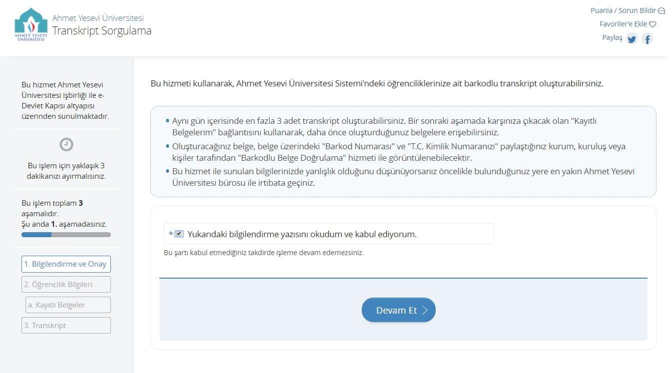 E-Devletten Transkript Alma