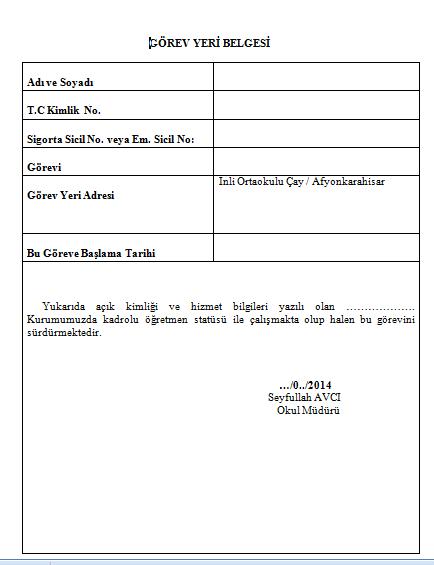 görev yeri belgesi