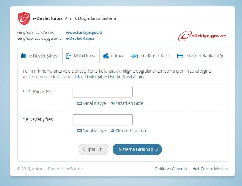 e-devlet giriş sayfası