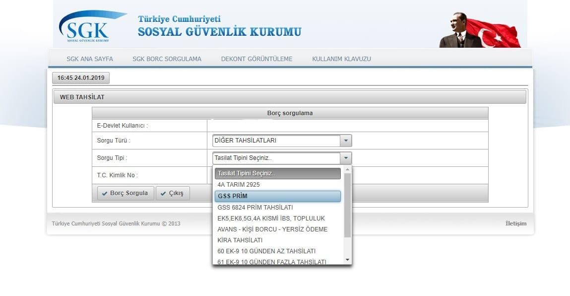 gss borç sorgulama sayfası